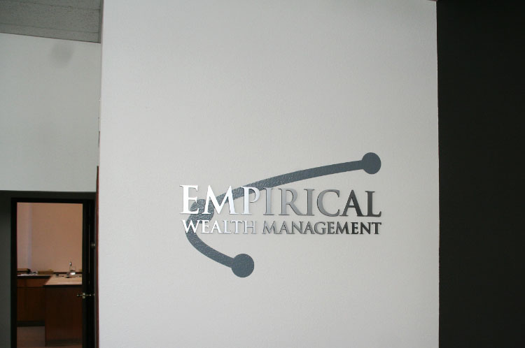 Office Acrylic Sign with brushed Metal Face