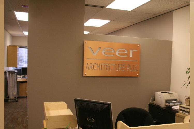 Reverse Cut Lobby Office Sign