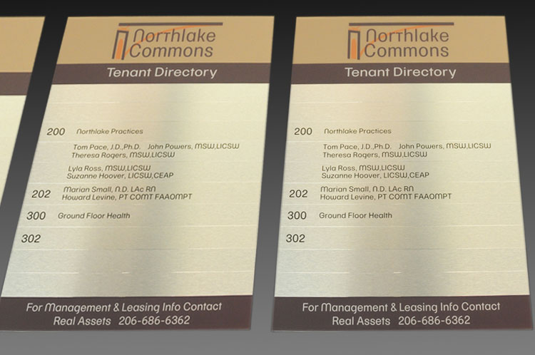 Tenant Directory Sign With Changeable Name Placards