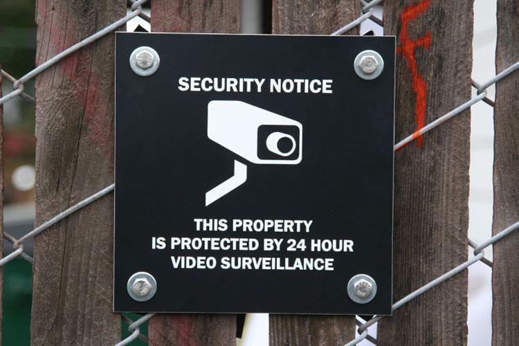 Metal Surveillance Sign