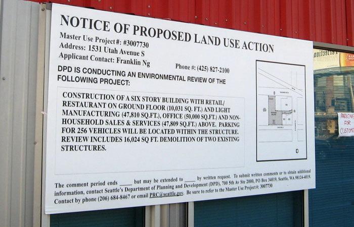 Land Use Sign Seattle