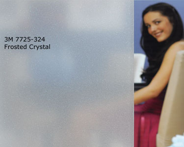 The 3M frosted crystal film has the uniform appearance of sandblasted glass. It also has subtle sparkles